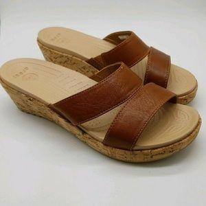 Crocs Women's 8 Leather Mini Wedge Sandals
